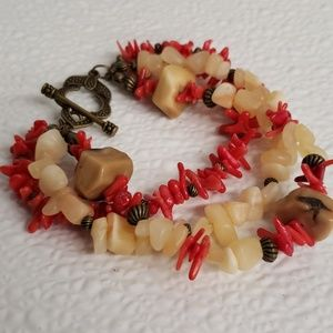 Jewelry - 3 strand toggle bracelet with coral stone beads